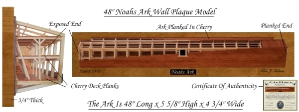 Half Hull Noah`s Ark Model Made In American Cherry
