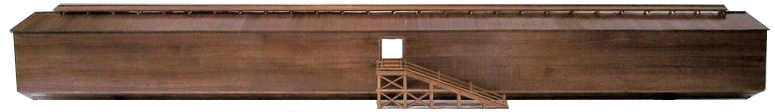 The front of the model shows the Ark fully planked