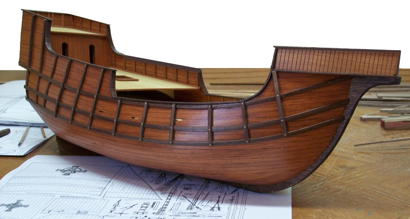 The hull is made out of Walnut, and Cherry Wood, decked in Poplar Wood